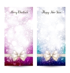 Two festive greeting cards with ribbon bow and vector