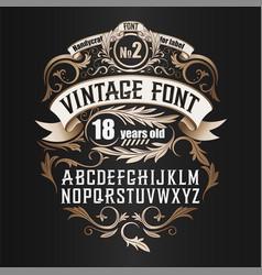 Vintage label font cognac label style vector