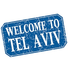 Welcome to tel aviv blue square grunge stamp vector