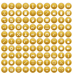 100 gear icons set gold vector