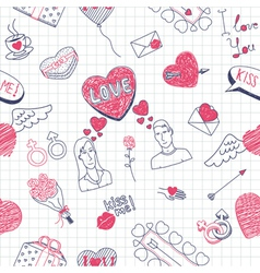 Valentine doodles seamless pattern vector