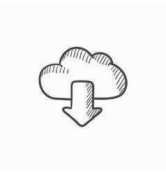 Cloud with arrow down sketch icon vector image