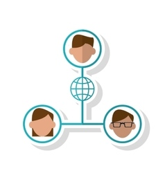 Avatar people and global sphere design vector
