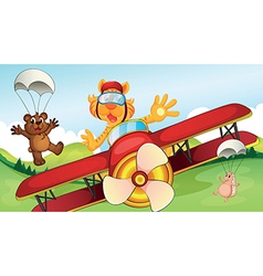 Animals and airplane vector