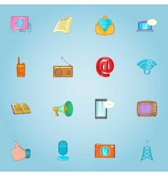Internet connection icons set cartoon style vector