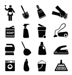 Silhouette of cleaning vector image