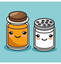 Salt and honey bottles kawaii style vector