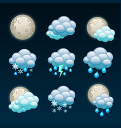 Weather forecast icons-night vector