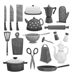 kitchenware or dishware utensils icons set vector image