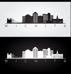 wichita usa skyline and landmarks silhouette vector image
