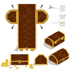 Treasure chest packaging box design vector