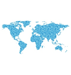 Map of the world with blue square vector