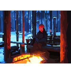 Cartoon man sitting by the fire in winter forest vector