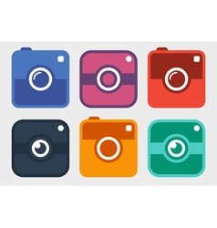 Hipster photo camera icon set vector