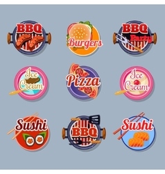 Set stickers of food vector