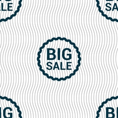 Big sale icon sign seamless pattern with geometric vector