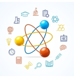 Science concept and outline colorful icons set vector