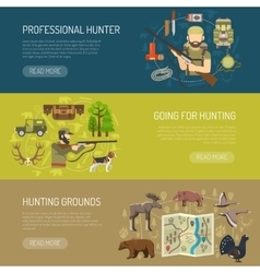 Hunting horizontal banners collection vector