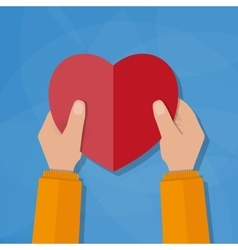 Hands holding the heart vector