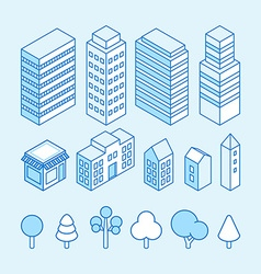 city landscape isometric and icons set vector image