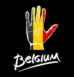 Open hand painted belgium flag painted lettering vector