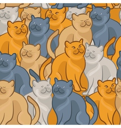 Seamless pattern of cute cartoon cats vector image