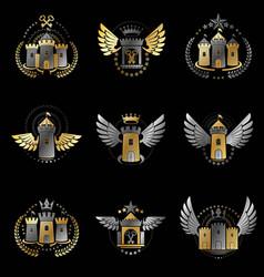 Ancient castles emblems set heraldic coat of arms vector