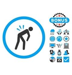 Backache flat icon with bonus vector