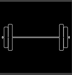 Barbell the white path icon vector