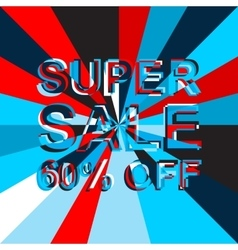 Big ice sale poster with super sale 60 percent off vector