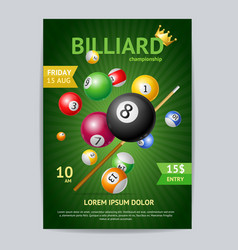 Billiard tournament poster card template vector