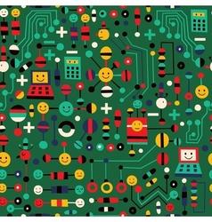 Cartoon circuit board pattern vector