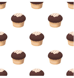 Chocolate cupcake icon in cartoon style isolated vector