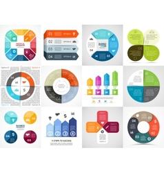 Circle arrows stripe infographics set vector