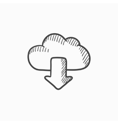 Cloud with arrow down sketch icon vector