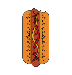 Color image cartoon front view hot dog with sauces vector