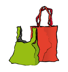 Disposable plastic bag package with handles empty vector