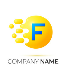 F letter splash yellow dots and circle bubble vector