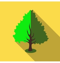 Fluffy green tree icon flat style vector image vector image