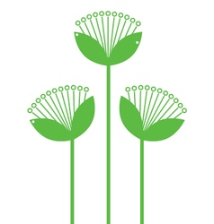 Green Flowers Line art isolated on white vector image vector image