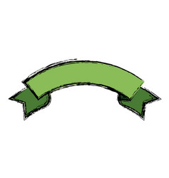 Green ribbon banner decoration celebration icon vector