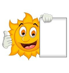 happy sun cartoon thumb up with blank sign vector image