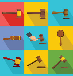judge hammer icons set flat style vector image