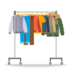 Men casual warm clothes on hanger rack vector