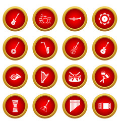 Musical instruments icon red circle set vector