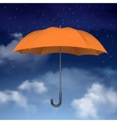Orange umbrella on sky with clouds background vector