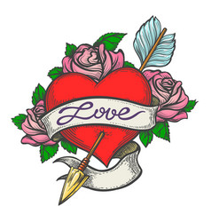 pierced heart in tattoo style vector image vector image