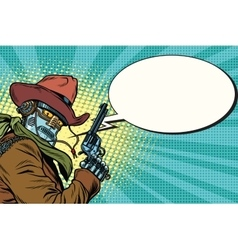 Robot cowboy wild West comic book bubble vector image