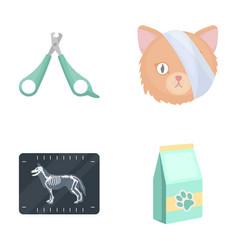 Scissors cat bandage wounded vet clinic set vector