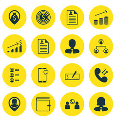 Set of 16 human resources icons includes bank vector